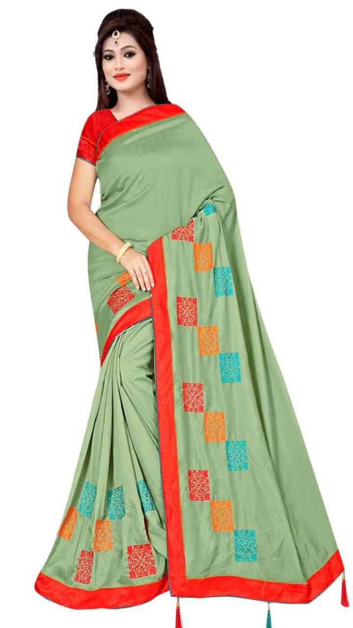 WOMEN SAREE WITH BLOUSE-GREEN-DF RIDDHI SQUARE
