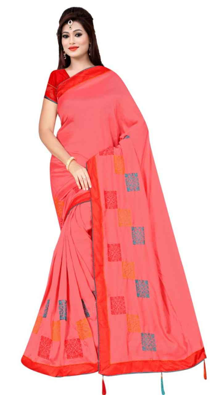 WOMEN SAREE WITH BLOUSE-PINK-DF RIDDHI SQUARE