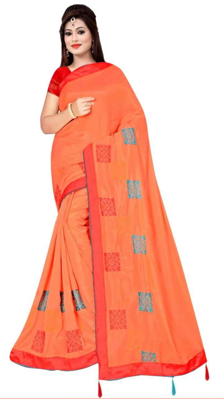 WOMEN SAREE WITH BLOUSE-PEACH-DF RIDDHI SQUARE