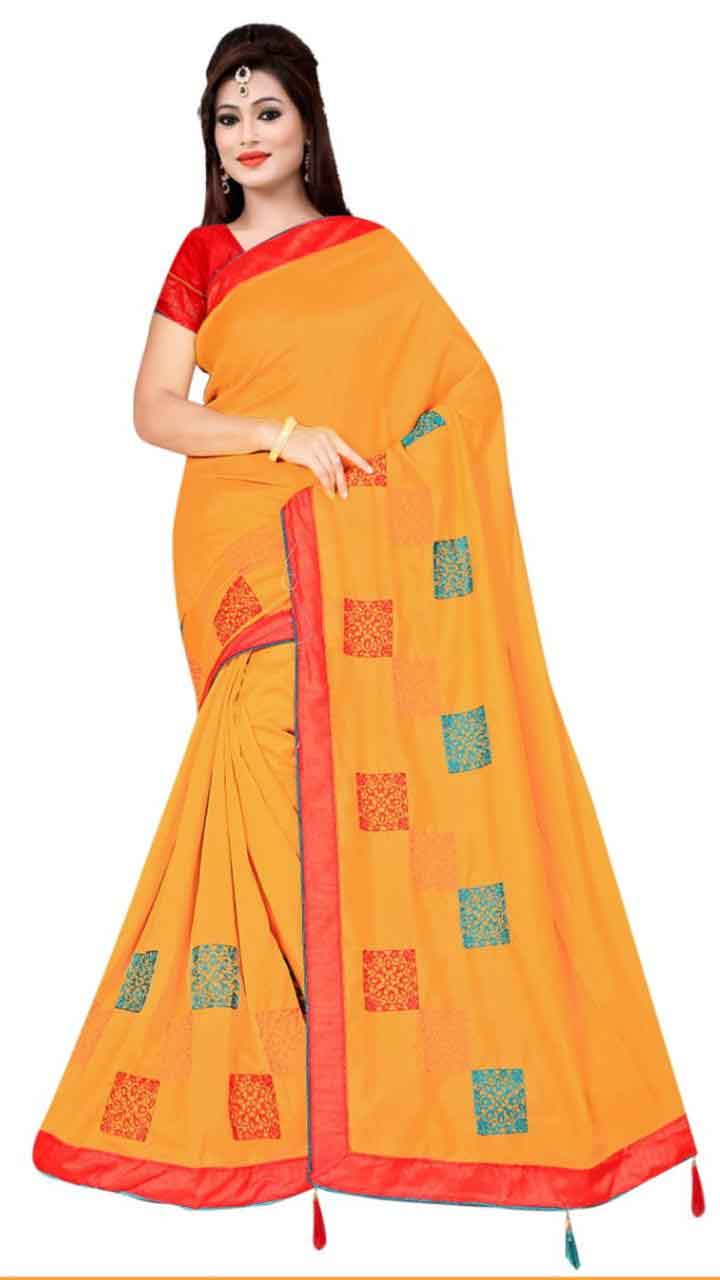 WOMEN SAREE WITH BLOUSE-YELLOW-DF RIDDHI SQUARE