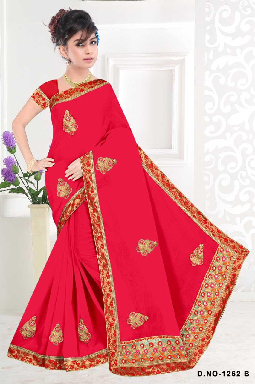 WOMENS SAREE WITH BLOUSE-DARK PINK-WS SEP RADHIKA 2019