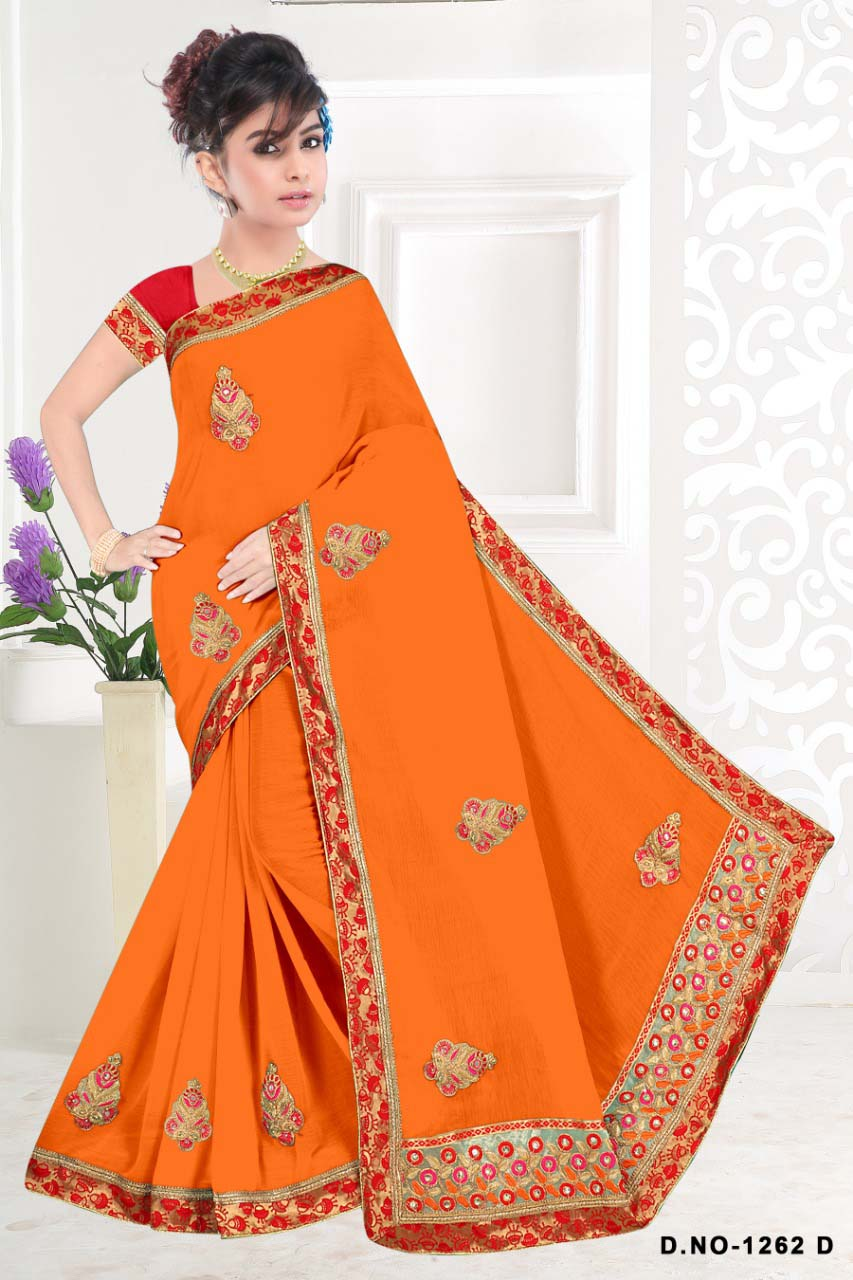 WOMENS SAREE WITH BLOUSE-MUSTURD-WS SEP RADHIKA 2019