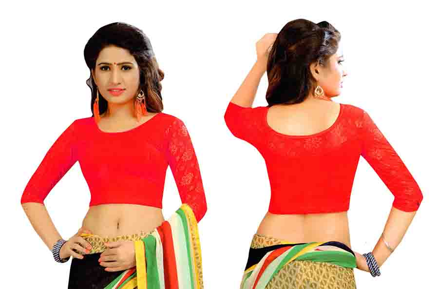 FANCY HC-152-RED 3/4 SLEEVES STRETCHABLE FANCY SAREE BLOUSE
