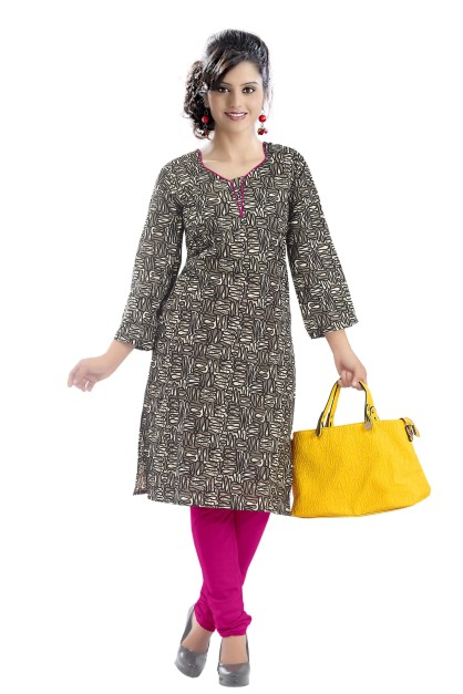RishCA D14 - Brown Printed Cotton Kurti