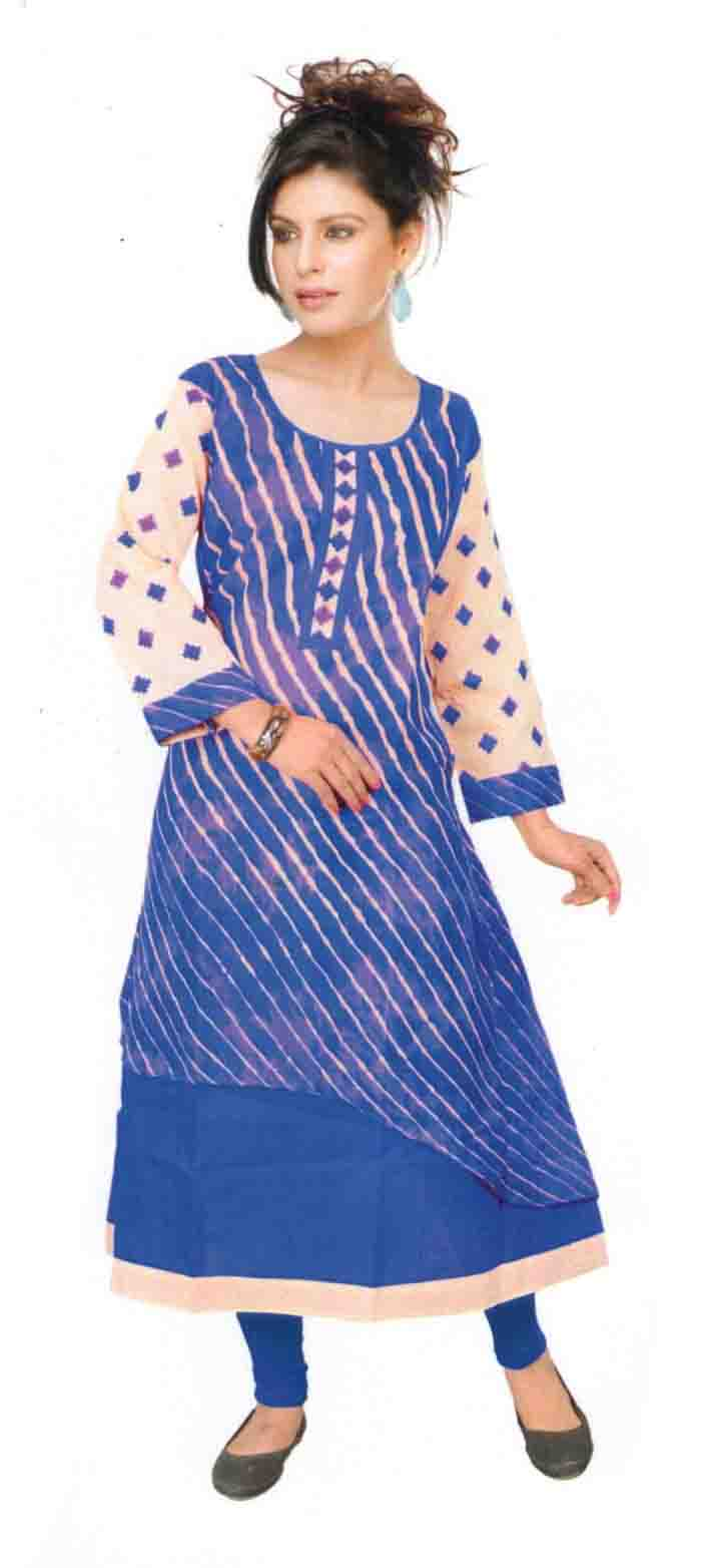 SKT SALONI 01-BLUE COTTON LINEN KURTI