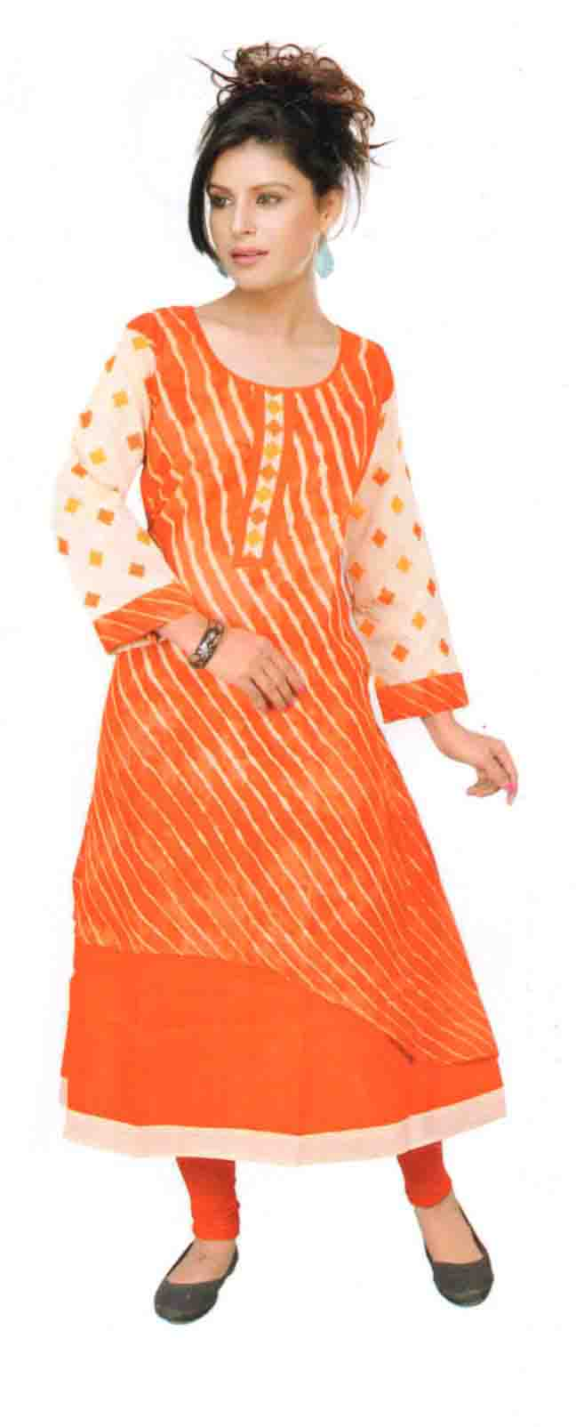 SKT SALONI 01-ORANGE COTTON LINEN KURTI