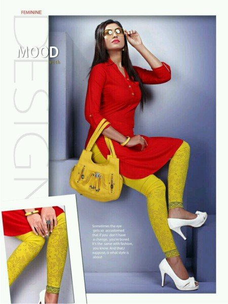 SCA JIO 209 - Red Plain Kurti With Yellow Printed Legging