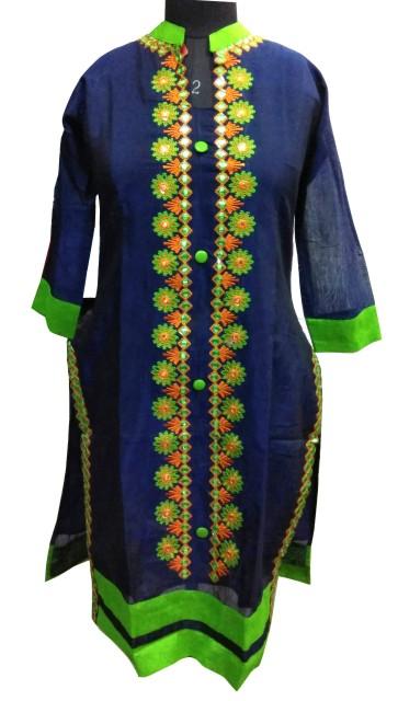 SATHIYA UC - Parrot Green Stitched Kurti