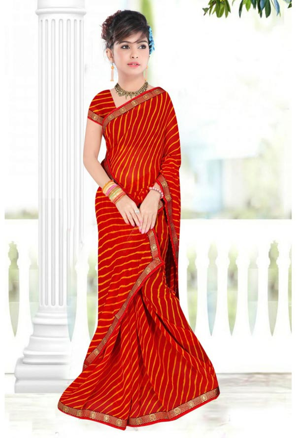 WOMEN SAREE WITH BLOUSE-RED-DF JULY SAVAN