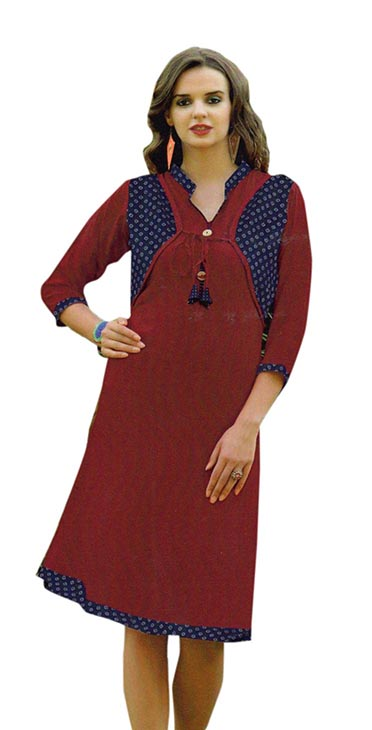 SMC SAZ 01-D NO 12  STYLISH SLEEVELESS RAYON KURTI
