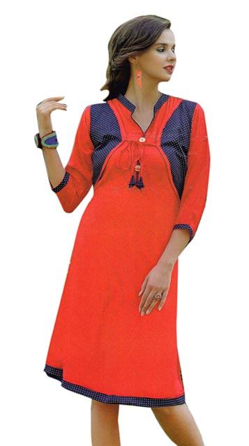 SMC SAZ 01-D NO 1  STYLISH SLEEVELESS RAYON KURTI