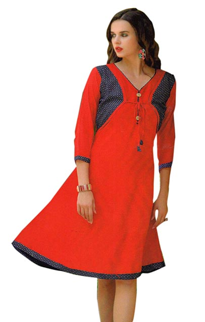 SMC SAZ 01-D NO 3  STYLISH SLEEVELESS RAYON KURTI