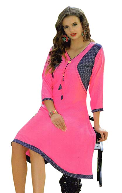 SMC SAZ 01-D NO 5  STYLISH SLEEVELESS RAYON KURTI