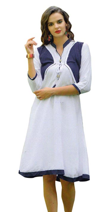 SMC SAZ 01-D NO 8  STYLISH SLEEVELESS RAYON KURTI