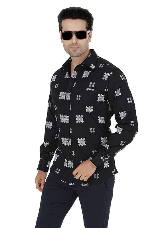 Black Printed Clubwear Shirt