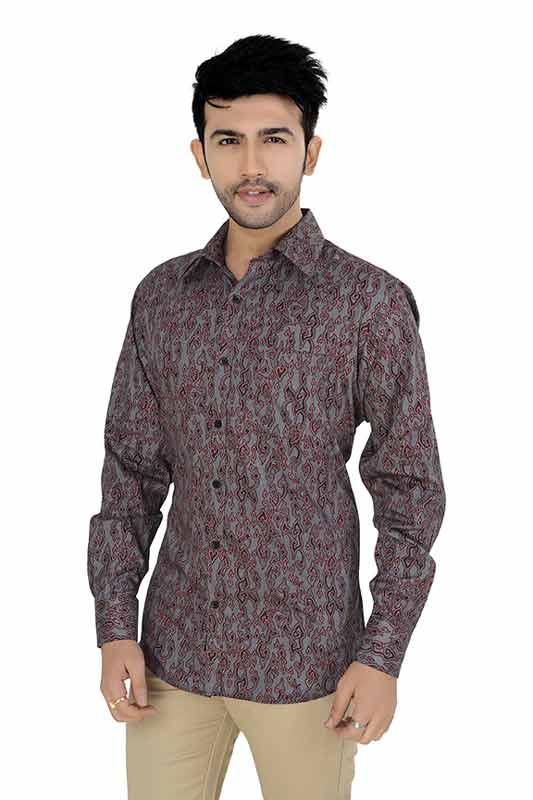 Maroon Printed Clubwear Shirt