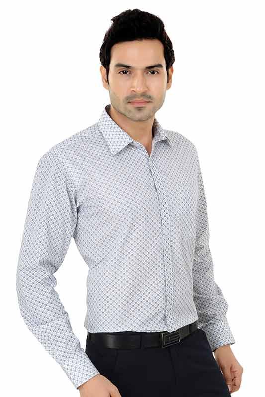 White and Blue Printed Clubwear Shirt