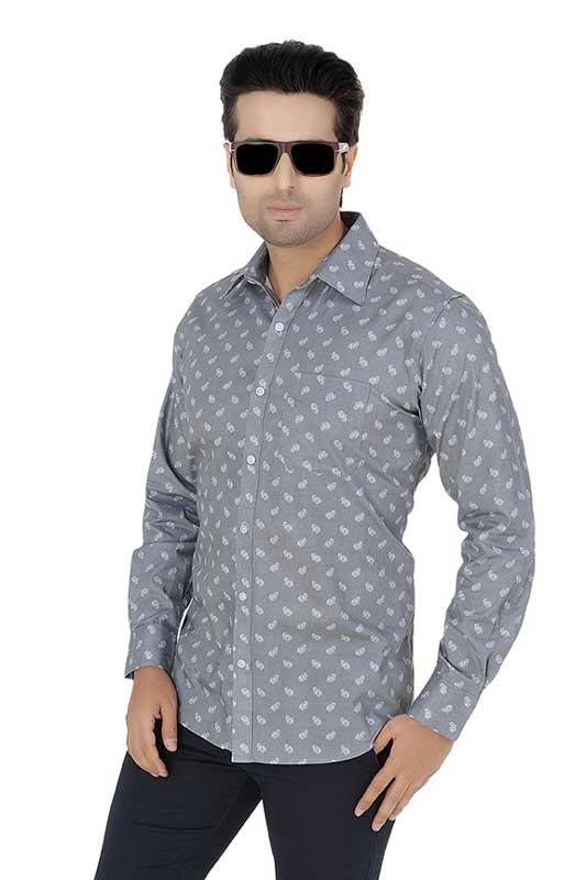 Grey Printed Clubwear Shirt