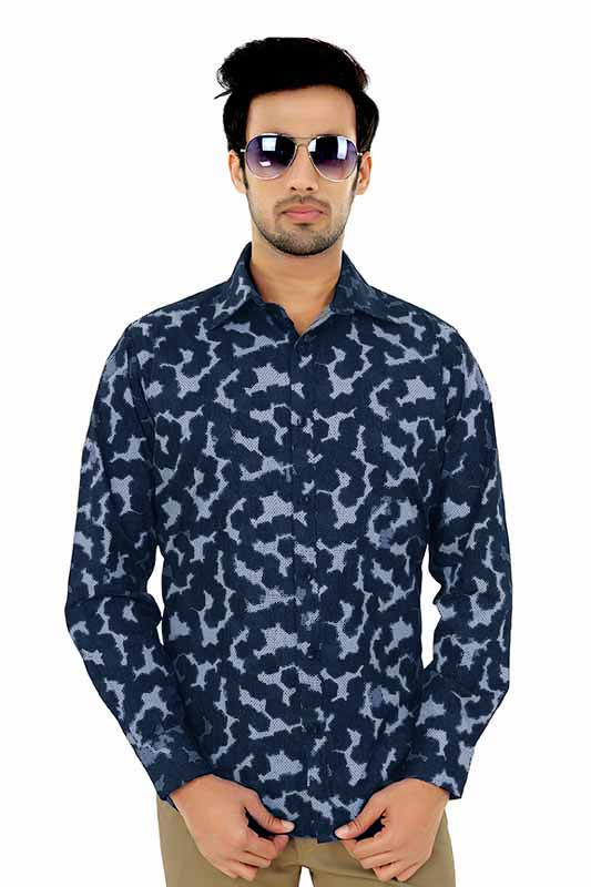 SG81 - Blue Printed Clubwear Shirt