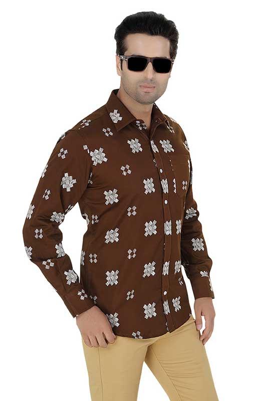 Coffee Brown Printed Clubwear Shirt