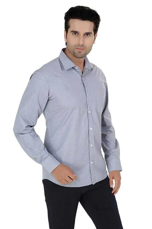 Light Grey Plain Formal Shirt