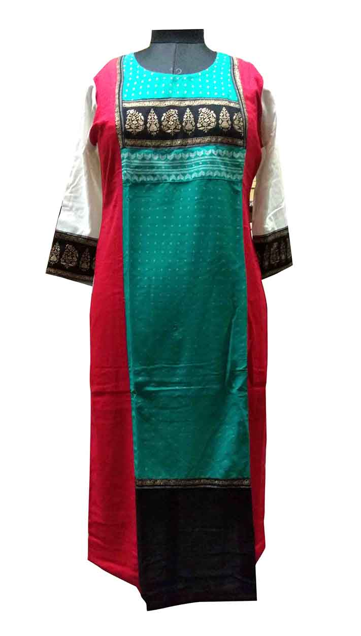 SKT MAHI 01-SEA GREEN COTTON LINEN KURTI