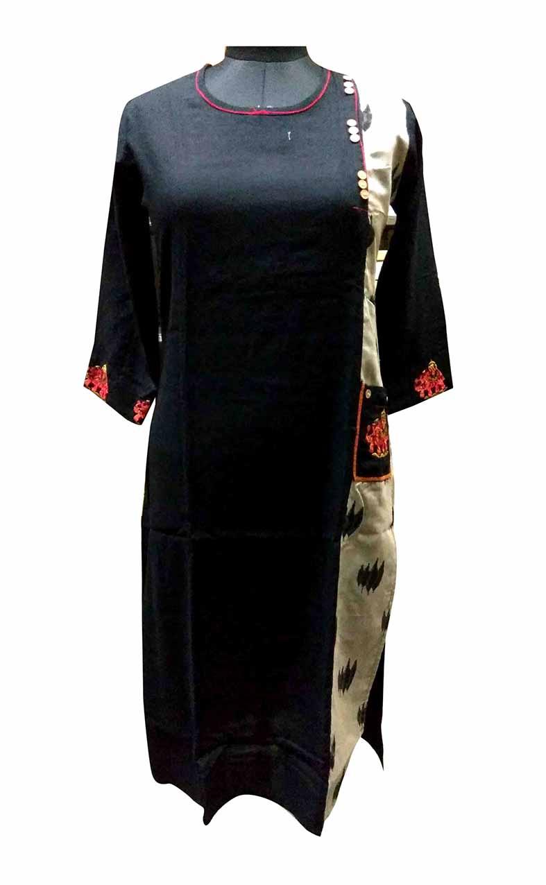 SGF HATHI EMB-BLACK STYLISH RAYON KURTI