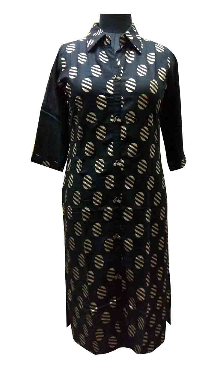 SGF V F 101-BLACK STYLISH RAYON KURTI