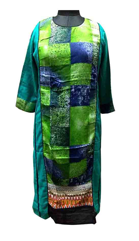 SGF W PANNEL-GREEN STYLISH RAYON KURTI