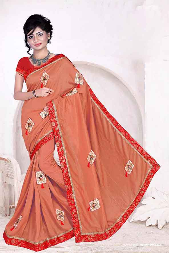 WOMEN SAREE WITH BLOUSE-PEACH-DANGI NEW 01