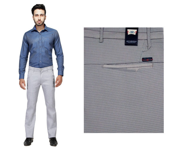 FSPL UTD MIX 4-GRAY CHECK CASUAL TROUSER