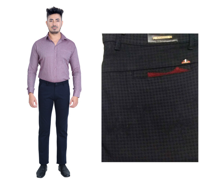 FSPL UTD MIX 5-BLACK CHECK CASUAL TROUSER