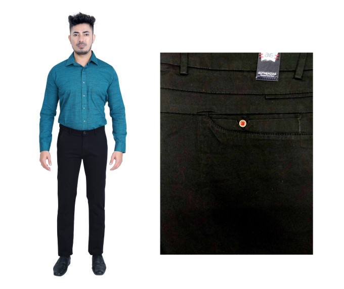 FSPL UTD MIX 5-BLK DOBBY CASUAL TROUSER