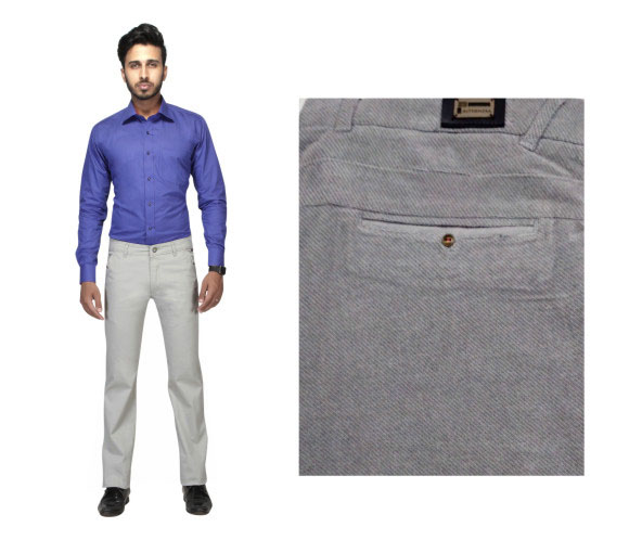 FSPL UTD MIX 5-GRAY DOBBY CASUAL TROUSER