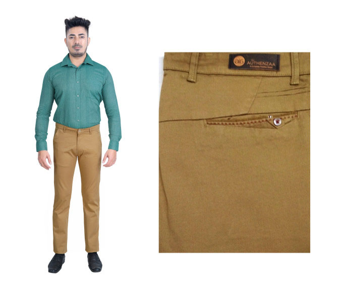 FSPL UTD MIX 5-LT BROWN CASUAL TROUSER