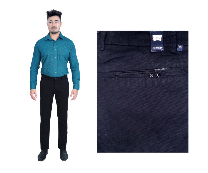FSPL UTD MIX 6-BLACK DOBBY CASUAL TROUSER