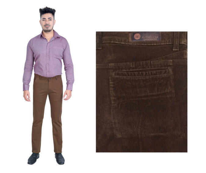 FSPL UTD MIX 6-D BROWN CORT CASUAL TROUSER