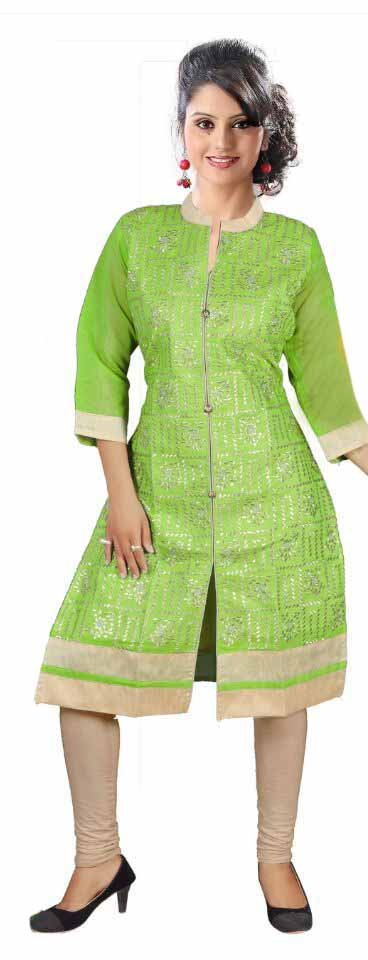 SKT DN 423 - Parrot Green Stitched Cotton Kurti