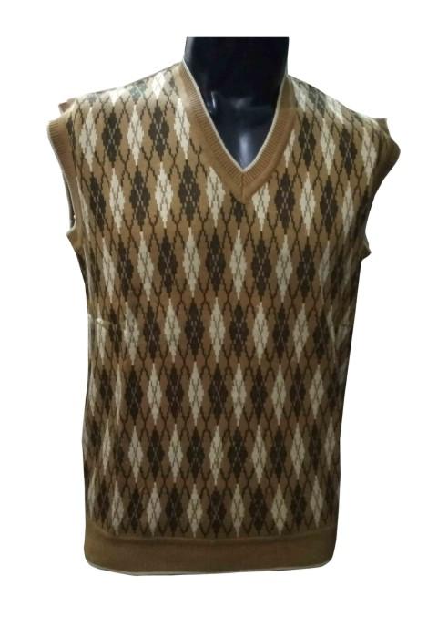 SL V NECK - Beige Sleeveless Sweater