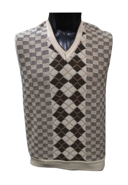 SL V NECK - Cream Sleeveless Sweater