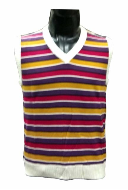 SL V NECK STRIPES - MULTI CREAM Sleeveless Sweater