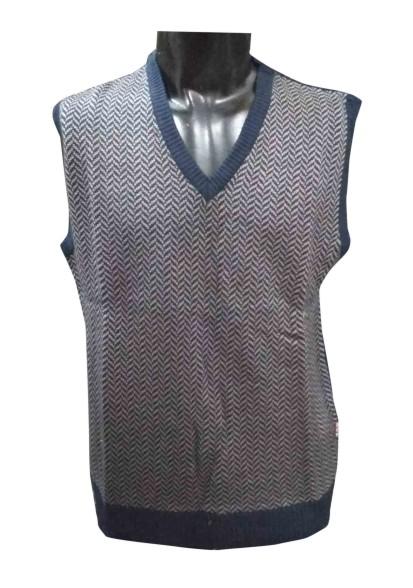 SL V NECK ZIG ZAG - Navy Sleeveless Sweater