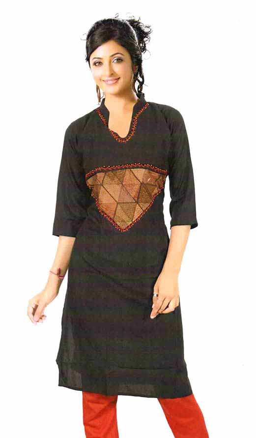 SMC D NO 325 EO-BLACK STYLISH RAYON KURTI