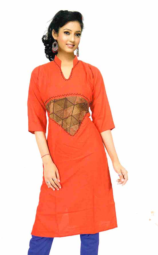 SMC D NO 325 EO-RED STYLISH RAYON KURTI