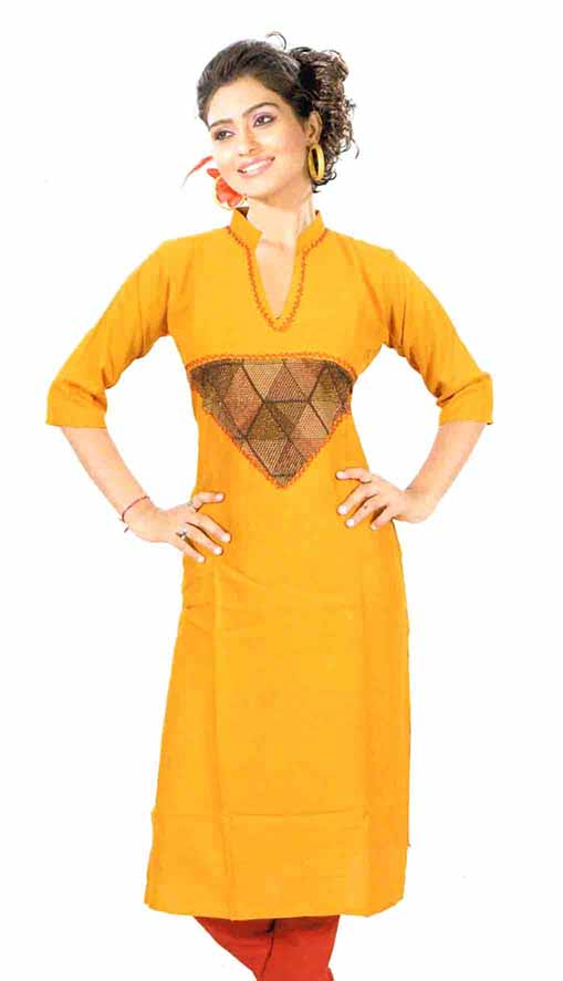 SMC D NO 325 EO-YELLOW STYLISH RAYON KURTI