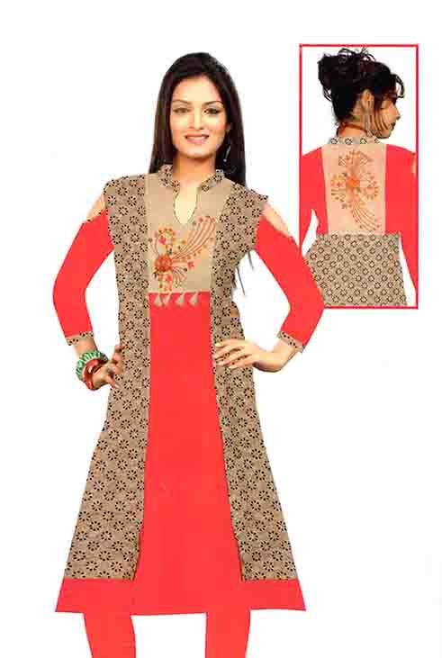 SMC D NO 495 D-RED/CREAM STYLISH RAYON KURTI