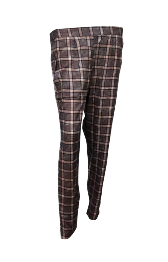 SOMAYA D NO 10-PURPLE CHECKS WMN PANT
