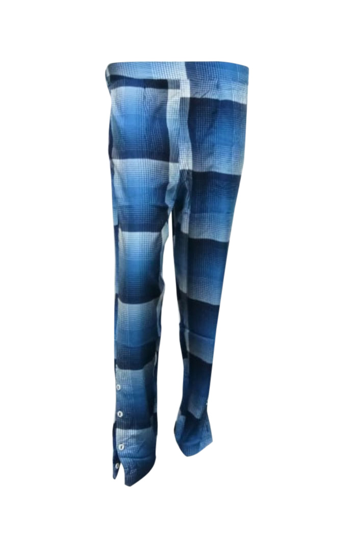 SOMAYA D NO 11-BLUE CHECKS WMN PANT