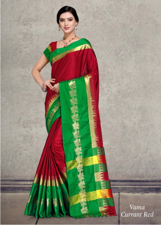 WOMEN SAREE WITH BLOUSE-GREEN/RED-SP VAMA 01