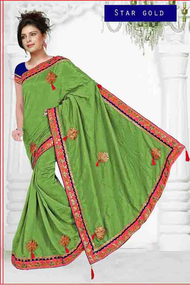 WOMEN SAREE WITH BLOUSE-GREEN-DF STAR GOLD 01